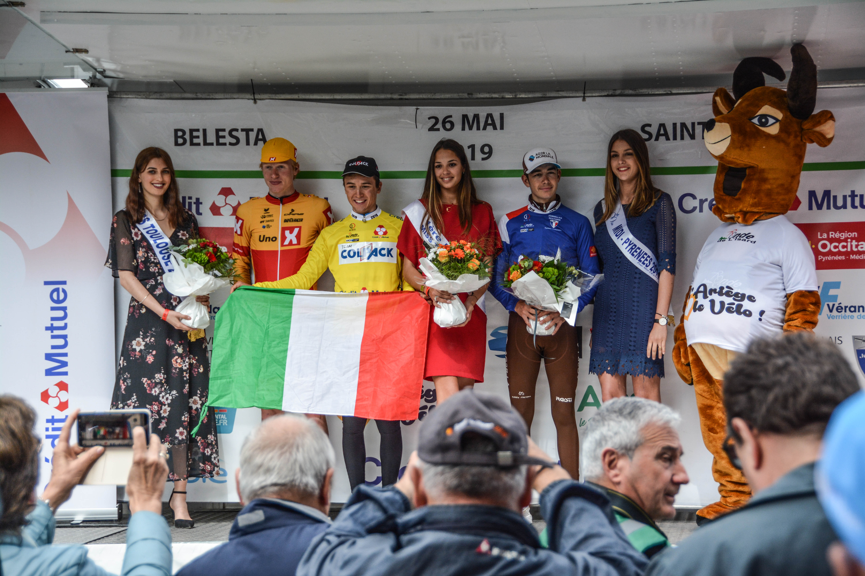 Podium final de la Ronde de l'Isard 2019 : Andrea Bagioli (Team Colpack), Andreas Leknessund (Uno-X Norwegian Development Team), Clément Champoussin (Chambéry Cyclisme Formation)